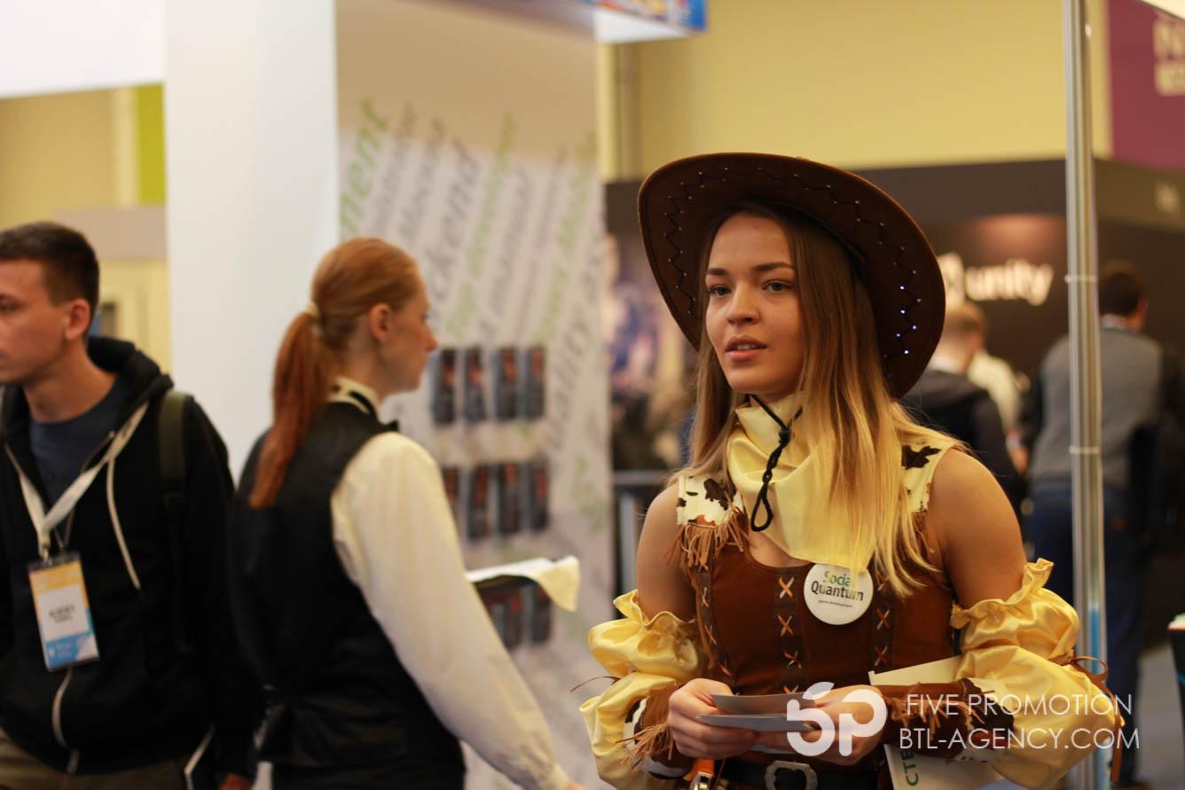 выставка, промо модель , промоутер, ковбой